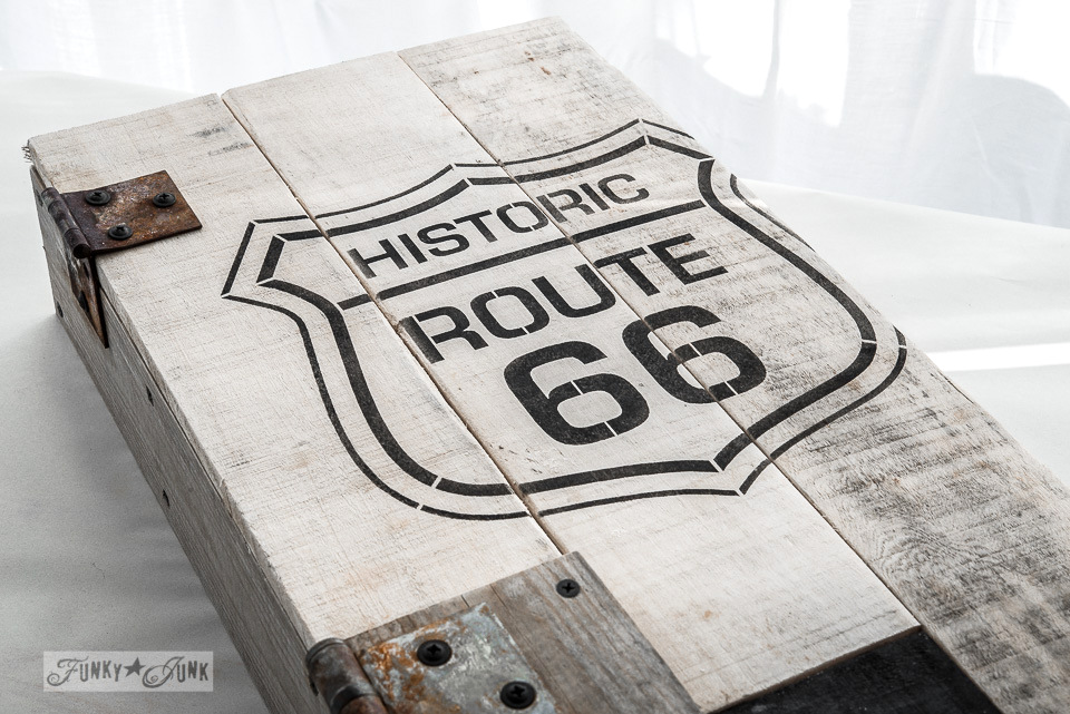 Stencilled Route 66 in black / Historic Route 66 pallet wood storage cabinet / Funky Junk's Old Sign Stencils collection  / FunkyJunkInteriors.net