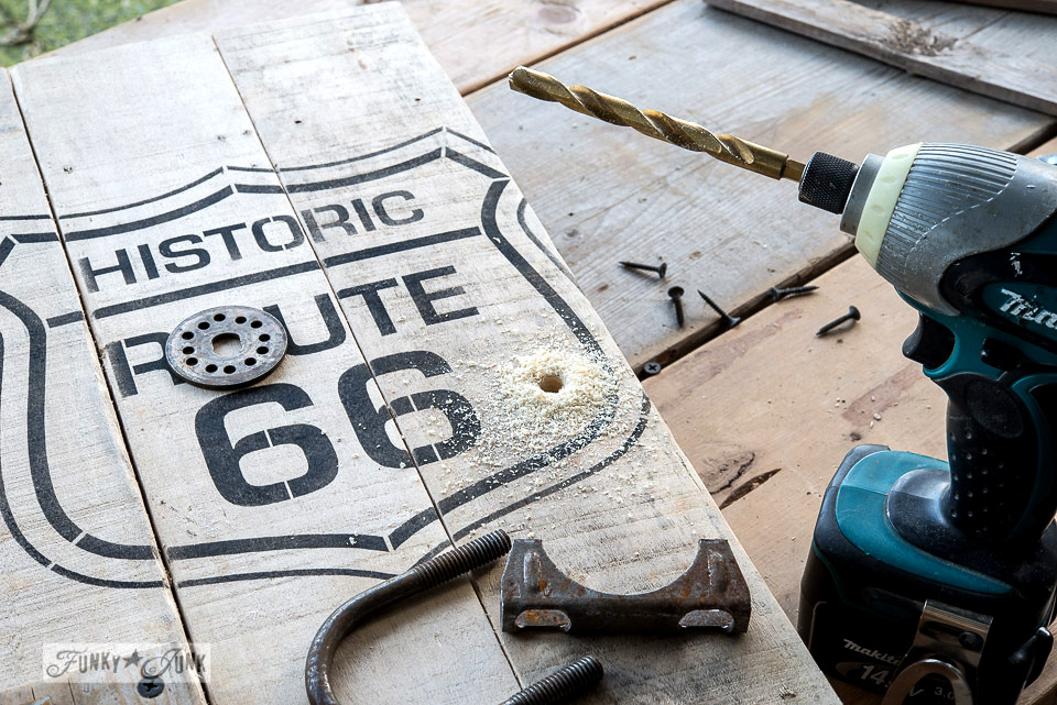 Drilling a hole through wood / Historic Route 66 pallet wood storage cabinet / Funky Junk's Old Sign Stencils collection  / FunkyJunkInteriors.net