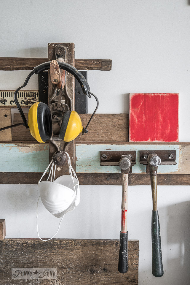 hanging workshop gear on reclaimed finds / Funky Junk's 2015 Summer Home Junk Tour / FunkyJunkInteriors.net