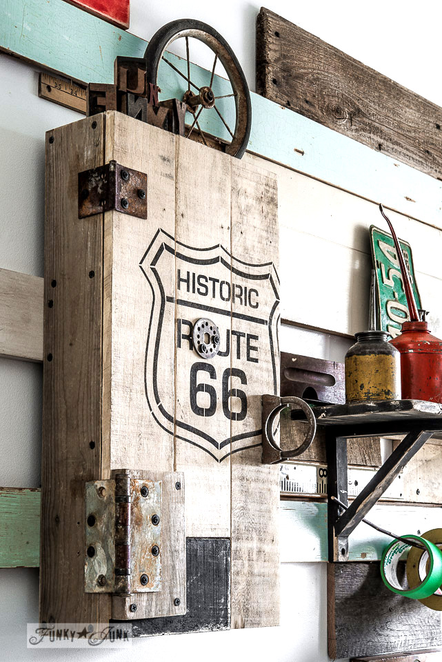 pallet wood Route 66 cupboard for workshop storage / funkyjunkinteriors.net