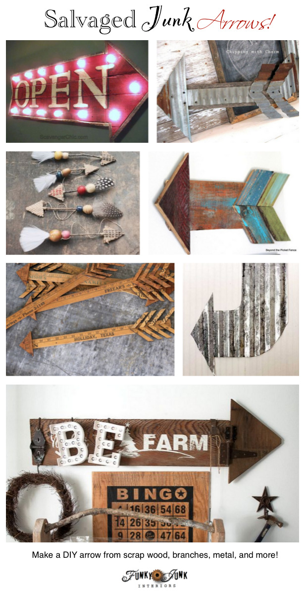 DIY arrows from salvaged materials! Branches, reclaimed wood, metal and more. FunkyJunkInteriors.net