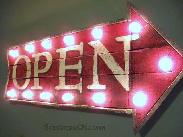 Illuminated wood arrow OPEN sign, by Scavenger Chic, featured on FunkyJunkInteriors.net