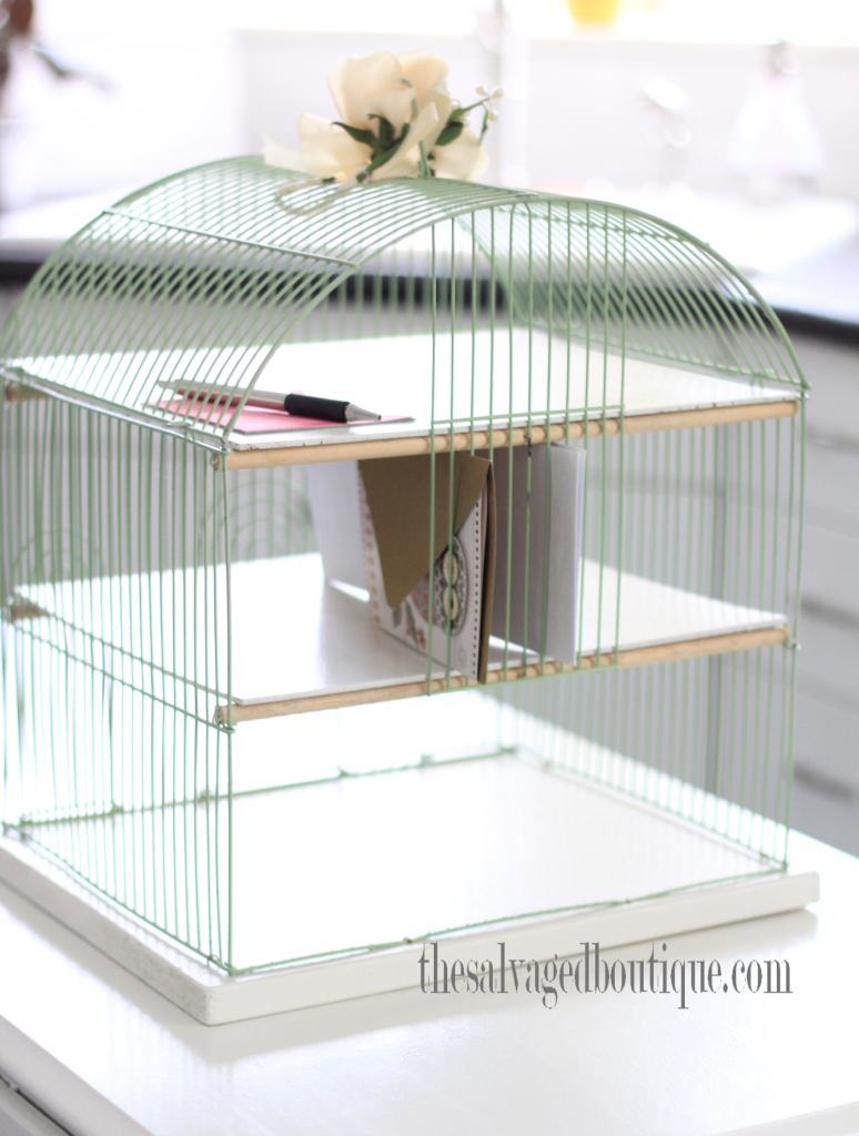 Birdcage desk organizer by The Salvaged Boutique, featured on Funky Junk Interiors