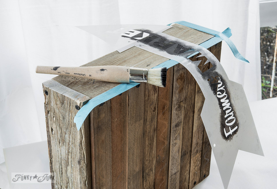 Use sections of your stencil creativey / How to stencil... featuring a pallet wood crate, using Funky Junk's Old Sign Stencils