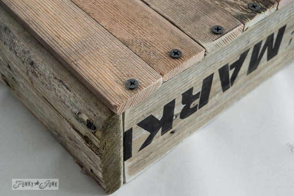 Screw cedar strips into bottom of crate / How to build a pallet wood crate / FunkJunkInteriors.net