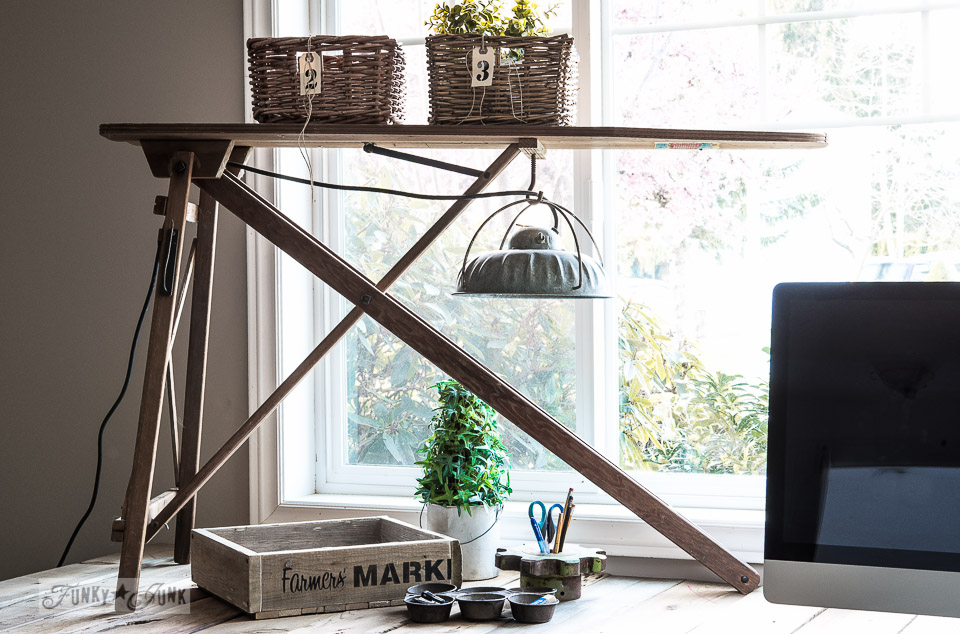Vintage ironing board light for office / How to build a pallet wood crate / FunkJunkInteriors.net