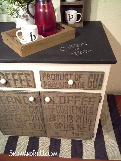 Coffee bean sack furniture cabinet by Stow and Tell U, on Funky Junk Interiors