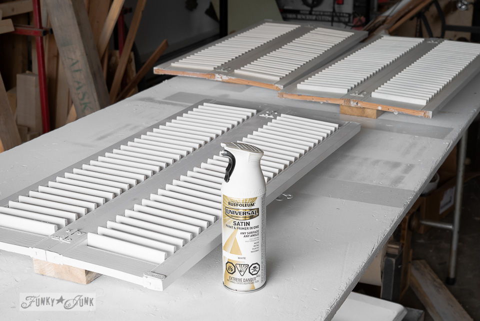 Spray painting shutters with Rustoleum paint and primer satin white