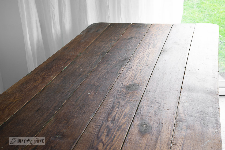 Farm table wood treatment with Miss Mustard Seed hemp oil and antique furniture wax