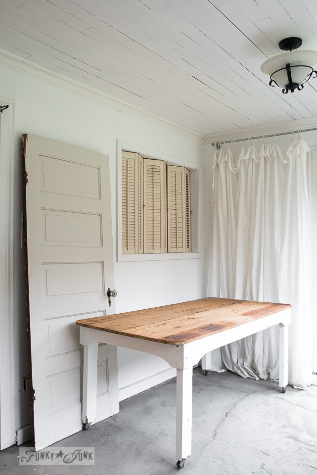 Shutters, old door and farm table photo studio backdrop