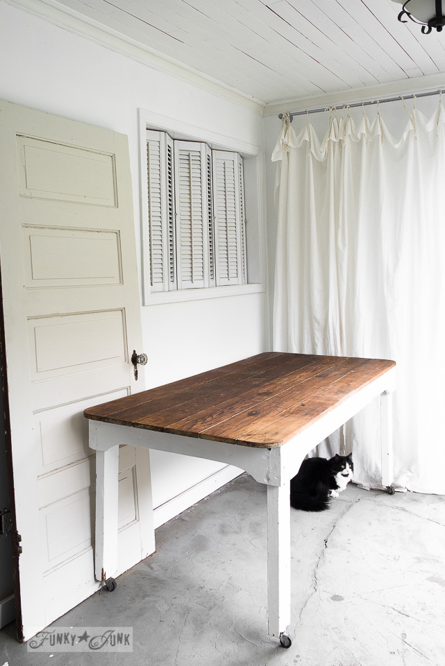 Photo studio props with an old door, farm table and shutters on FunkyJunkInteriors.net