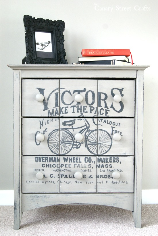 Vintage painted dresser by Canary Street Crafts, featured on FunkyJunkInteriors.net