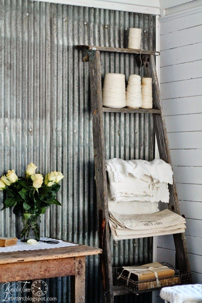 Ladder shelf in a bedroom / Knick of Time on Funky Junk Interiors