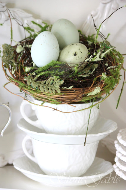 Moss and nests in a tea cup by Stone Gable on Funky Junk Interiors