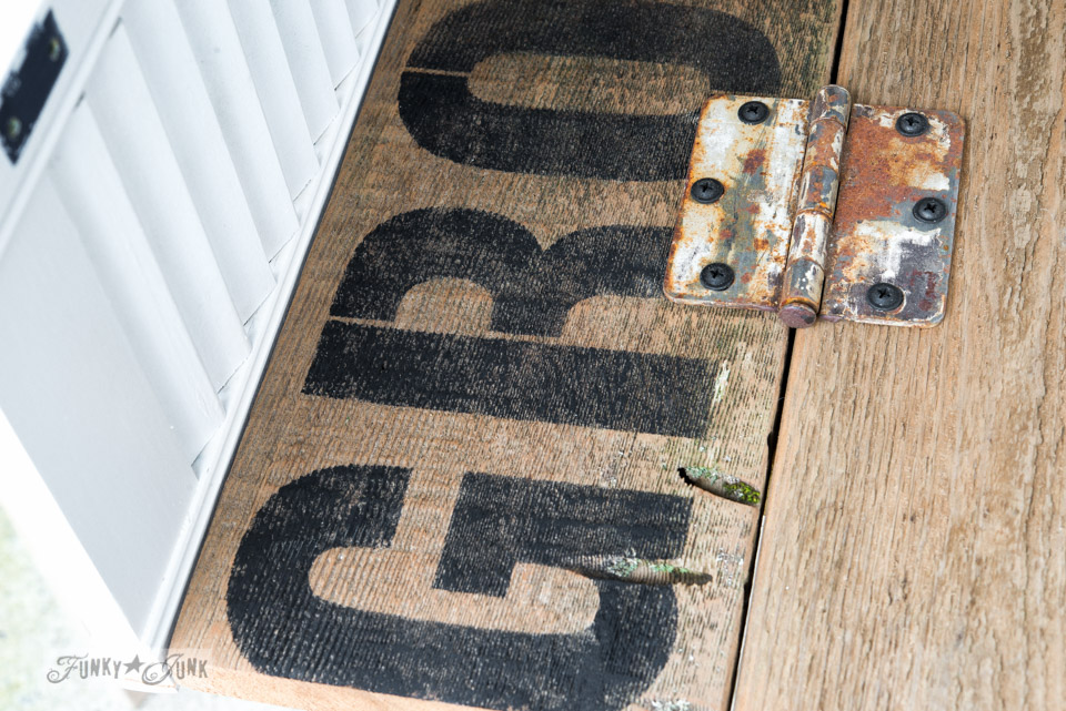 Grocery stencil / Get organized with an old sign stencils shutter shelf / on FunkyJunkInteriors.net