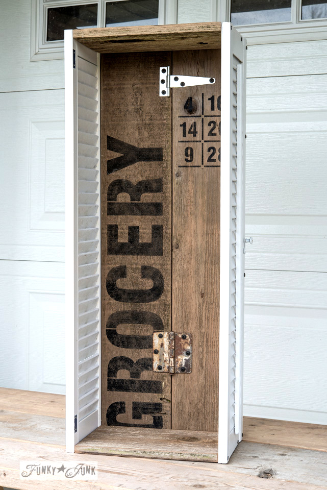 Get organized with an old sign stencils shutter shelf / on FunkyJunkInteriors.net