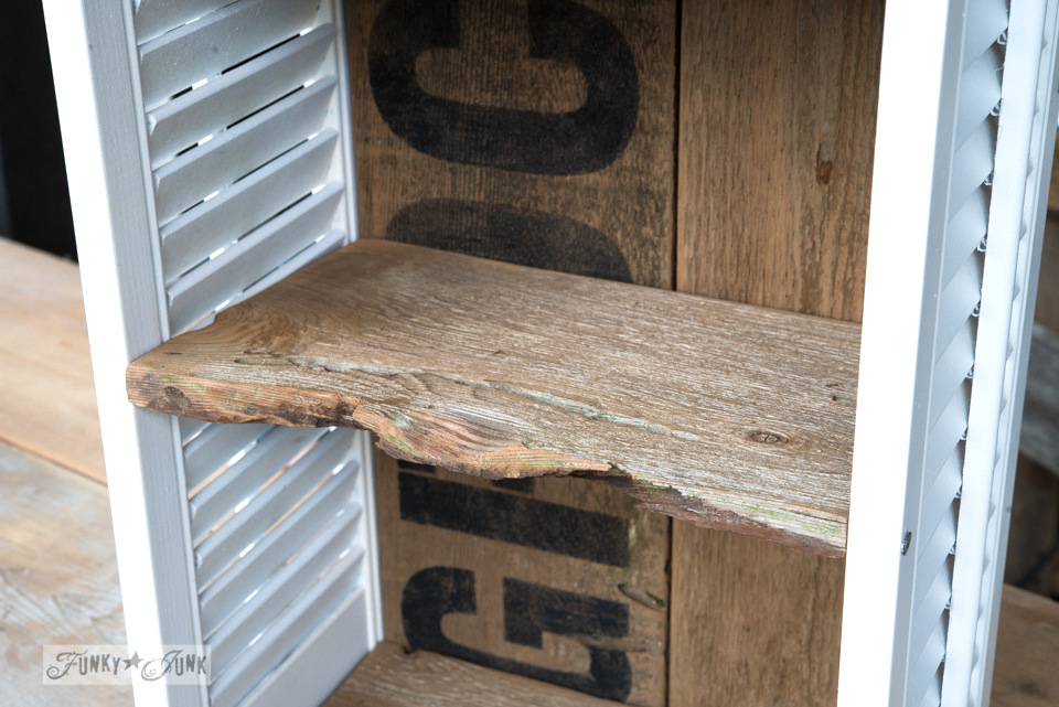 Reclaimed wood shelves / Get organized with an old sign stencils shutter shelf / on FunkyJunkInteriors.net