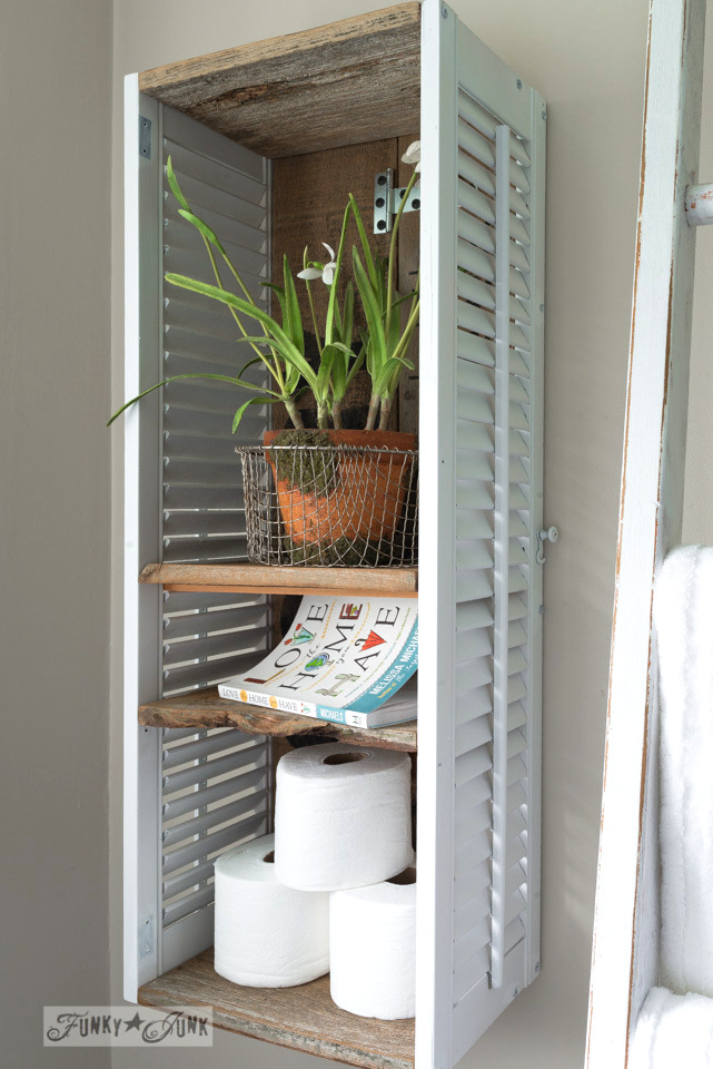 Learn how to make this shutter shelving that sits behind the toilet. Compact storage that's totally up-cycled!