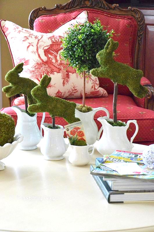 Moss bunny topiaries for spring by Housepitality Designs on Funky Junk Interiors