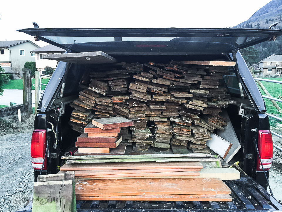 Truck full of reclaimed wood from a fence