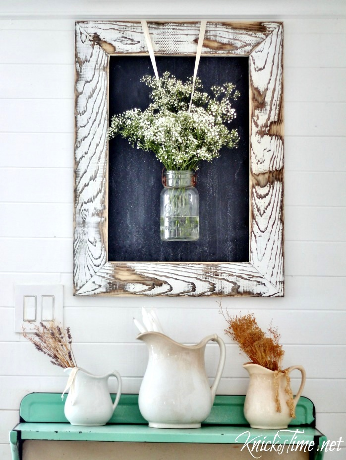 Reclaimed wood chalkboard frame with flowers in mason jar by Knick of Time, on Funky Junk Interiors