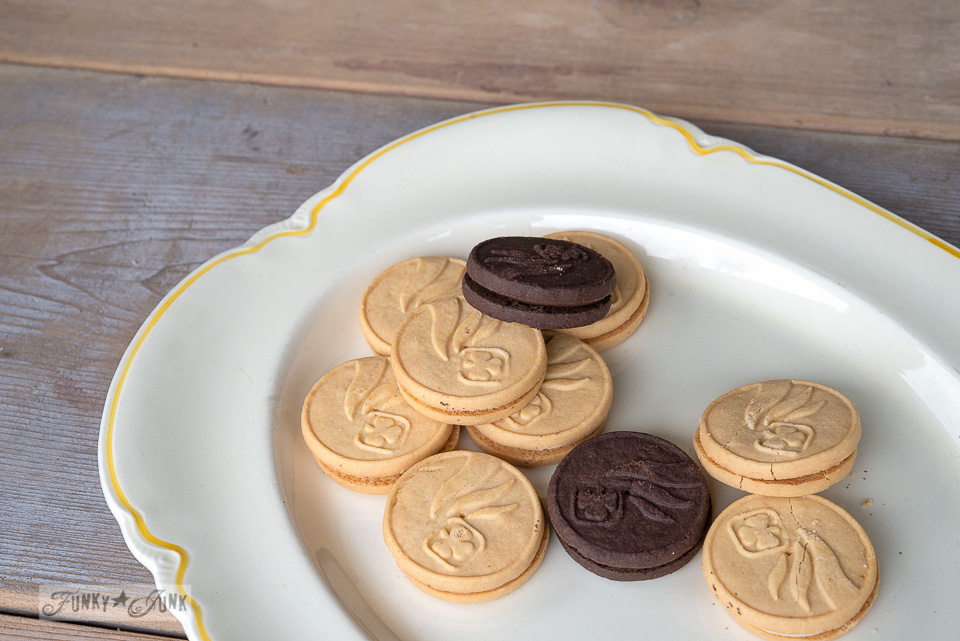 yellow and cream vintage platter with girl guide cookies