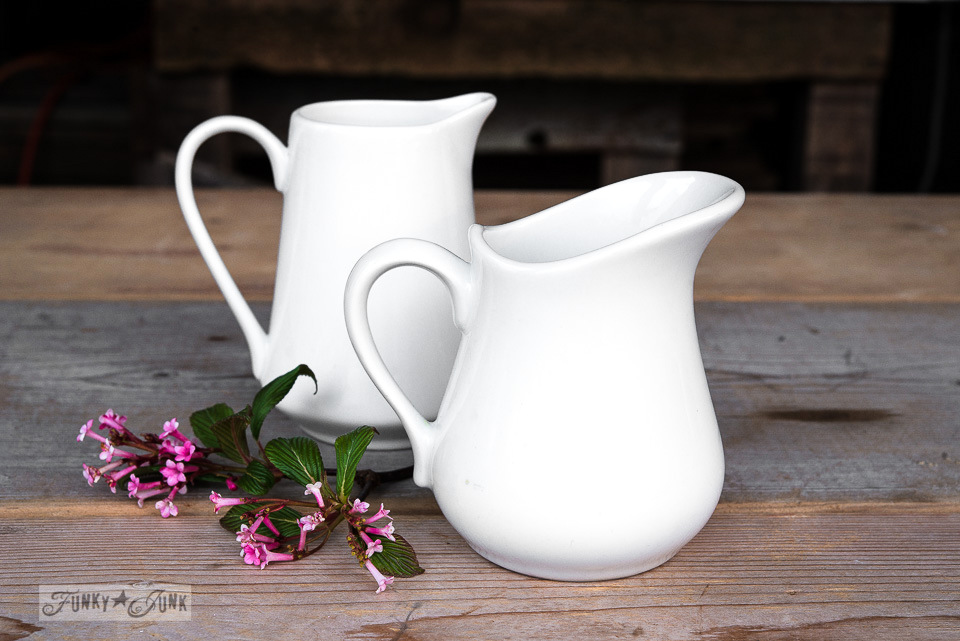 white pitchers for The Olde Farmhouse Vintage Show