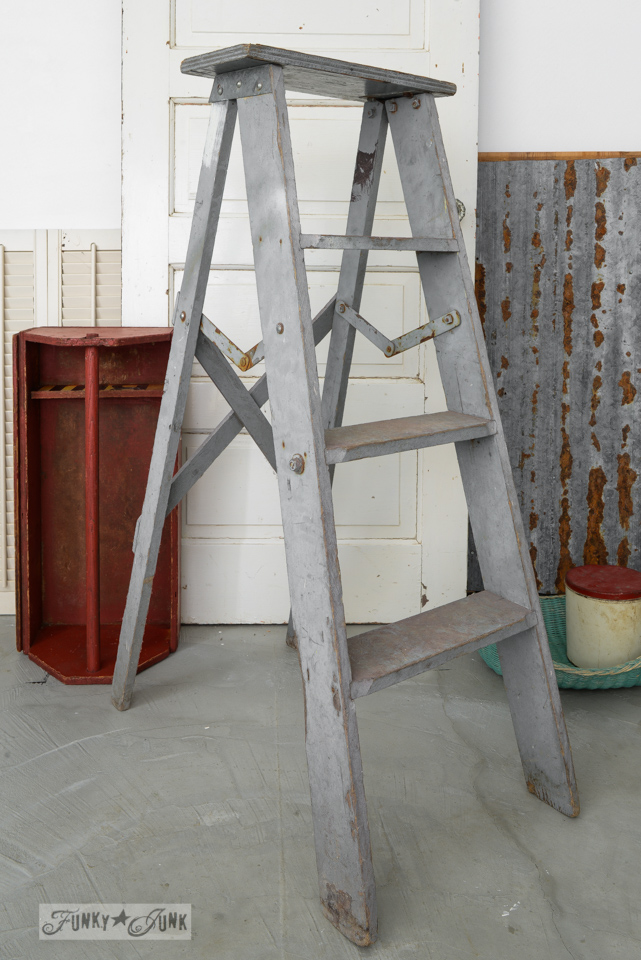 Ladder laundry room shelf, created for Country Woman Magazine, on FunkyJunkInteriors.net