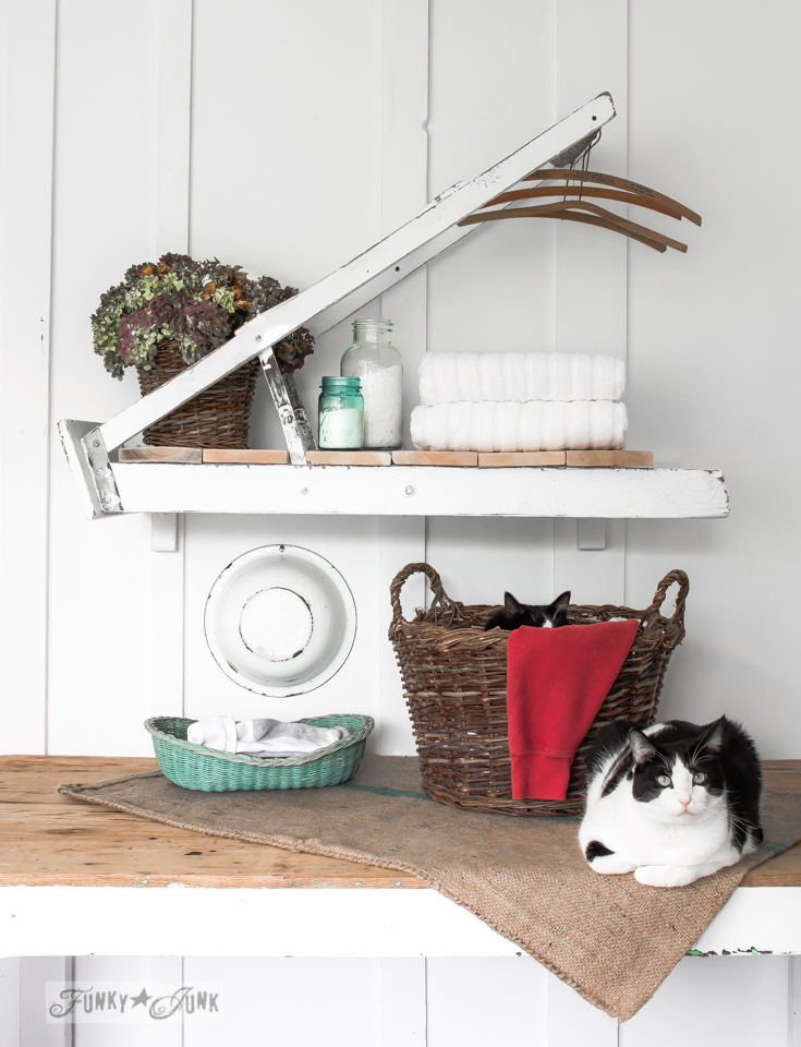 step ladder laundry room shelf for Country Woman Magazine / funkyjunkinteriors.net