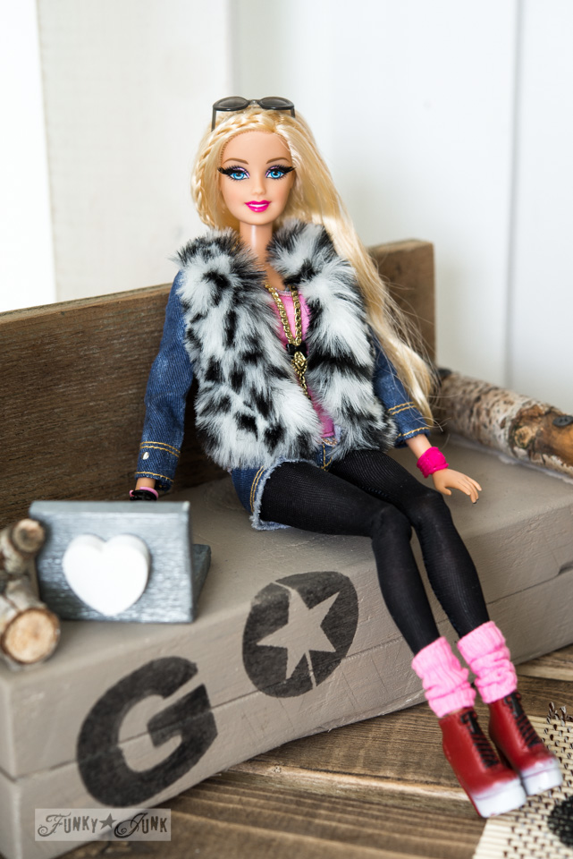Barbie Style with reclaimed wood with stencilled sofa and laptop / Upcycled dollhouse furniture! On FunkyJunkInteriors.net