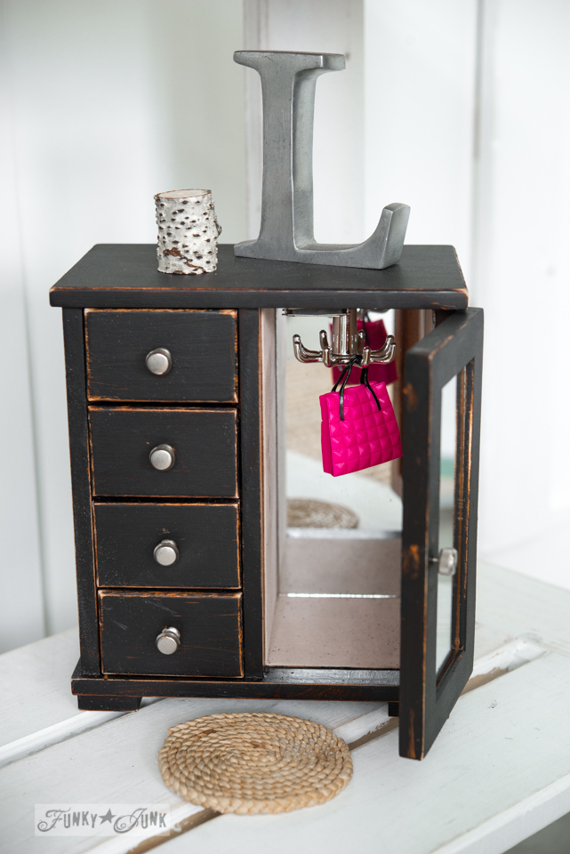 Jewelry box wardrobe for Barbie doll house / Upcycled dollhouse furniture! On FunkyJunkInteriors.net
