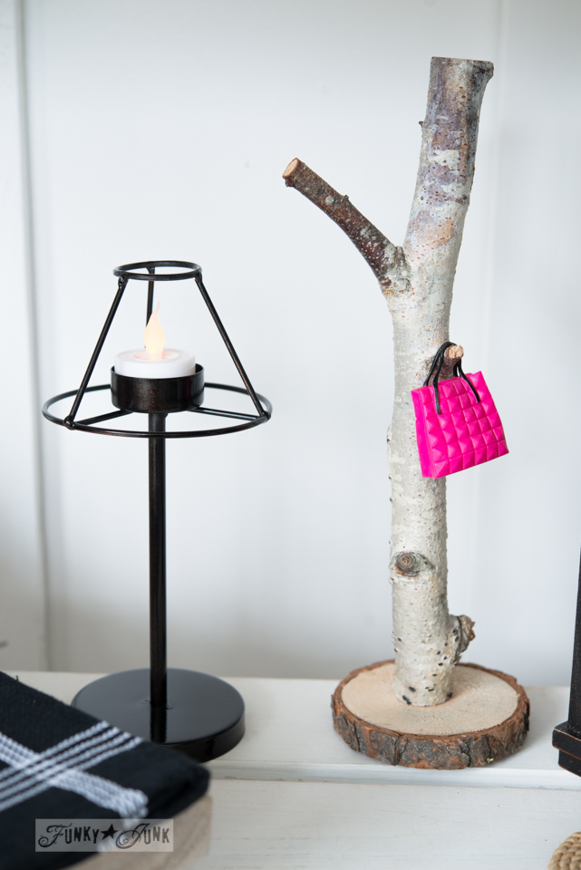 Barbie Style with upcycled lamp and branch purse hook / Upcycled dollhouse furniture! On FunkyJunkInteriors.net
