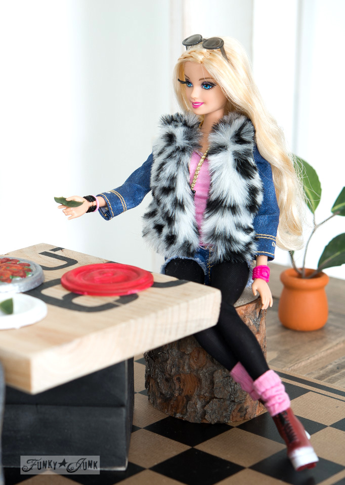 Barbie Style with denim jacket sitting at the table / Upcycled dollhouse furniture! On FunkyJunkInteriors.net