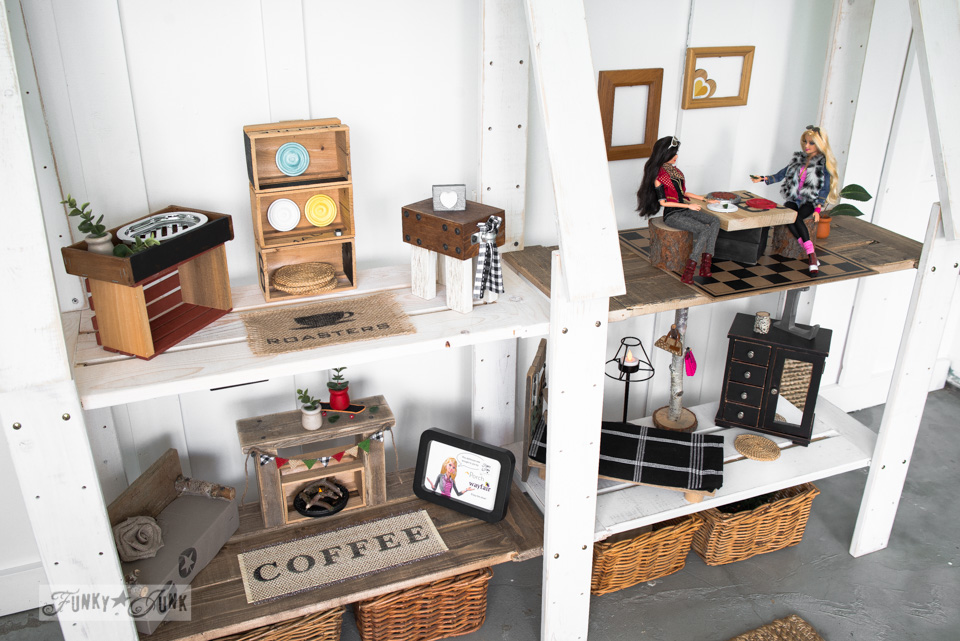 Reclaimed Barbie Doll House From A Bookshelf / Upcycled Dollhouse Furniture!  On FunkyJunkInteriors.net U201c