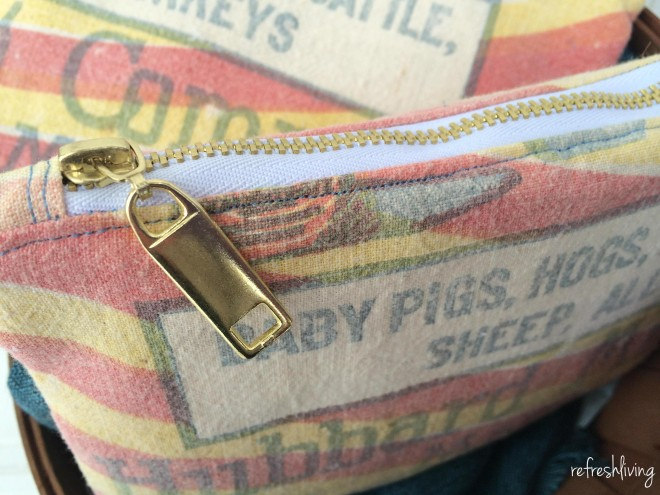 Upcycled grain sack zippered pouch by Refresh LIving, on Funky Junk Interiors