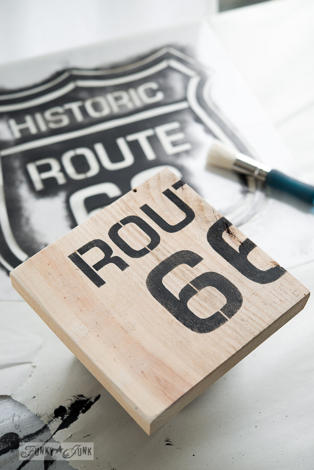 Route 66 old sign stencil / upcycled rustic doll furniture / FunkyJunkInteriors.net