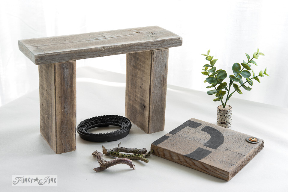 Reclaimed wood fireplace / Upcycled rustic doll furniture / FunkyJunkInteriors.net