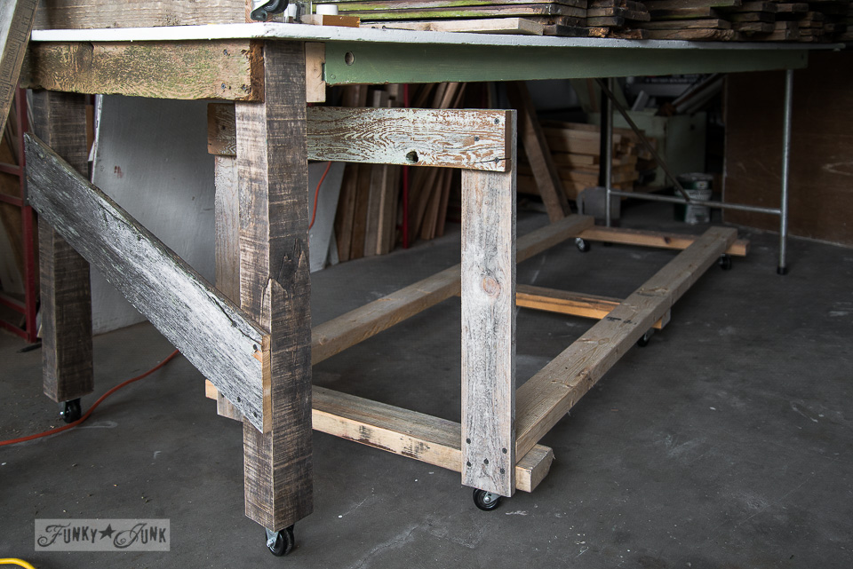 Wood storage cart under a folding table to farm table workbench / FunkyJunkInteriors.net