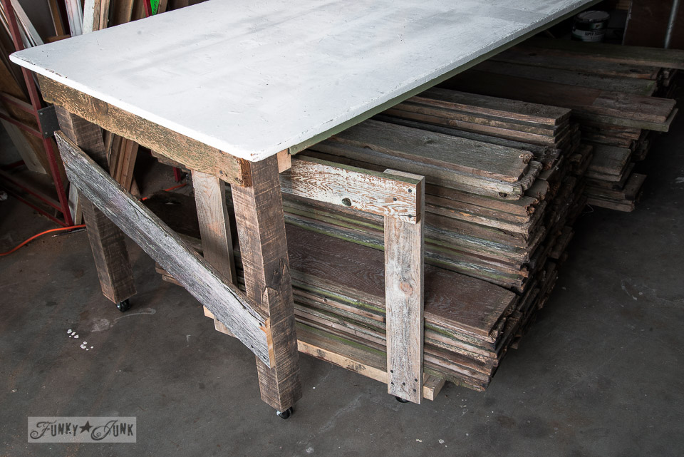 Learn the easiest way to clean reclaimed wood that just requires clean, safe water using a pressure washer! Includes how to prep, clean, dry, and store reclaimed wood! Click to read the full tutorial.