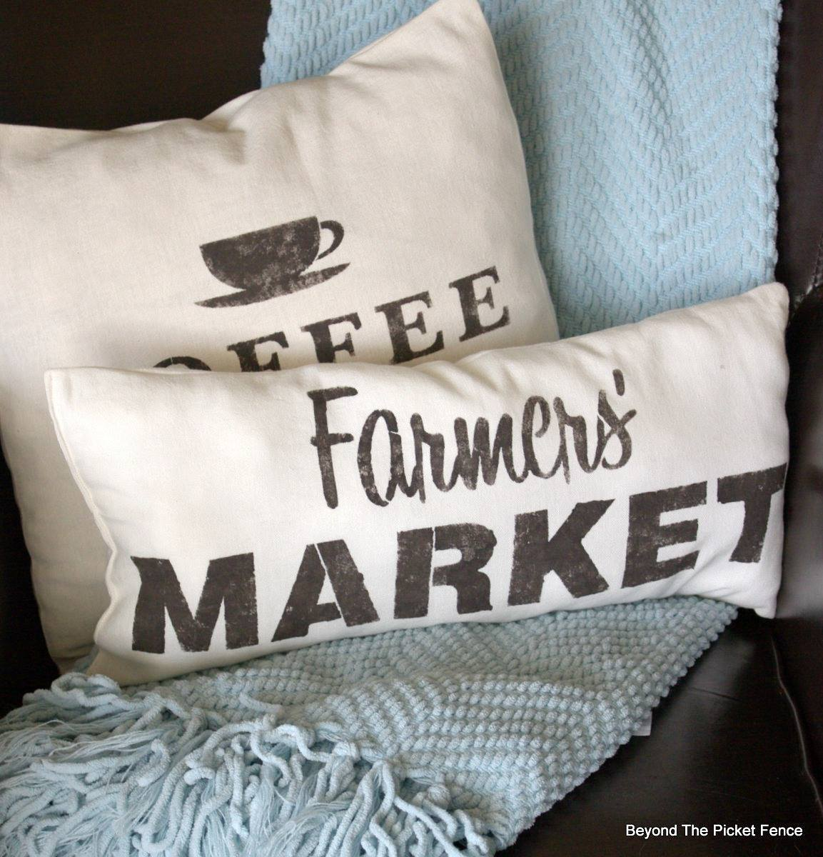 Stencilled Farmers' Market and Coffee pillows by Beyond the Picket Fence, featured on Funky Junk Interiors