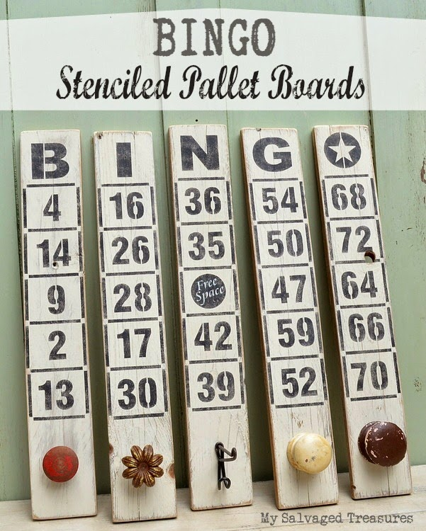 Bingo stencilled pallet board sign / My Salvaged Treasures featured on Funky Junk Interiors
