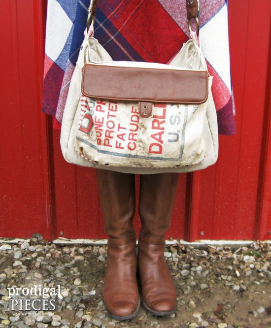 Feedsack purse by Prodigal Pieces, featured on Funky Junk Interiors