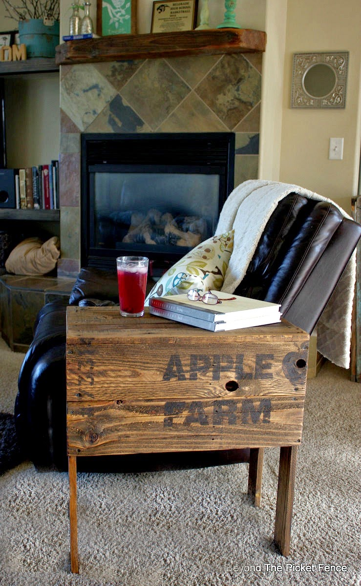 Apple Farm crate sidetable from scratch, by Beyond the Picket Fence featured on Funky Junk Interiors