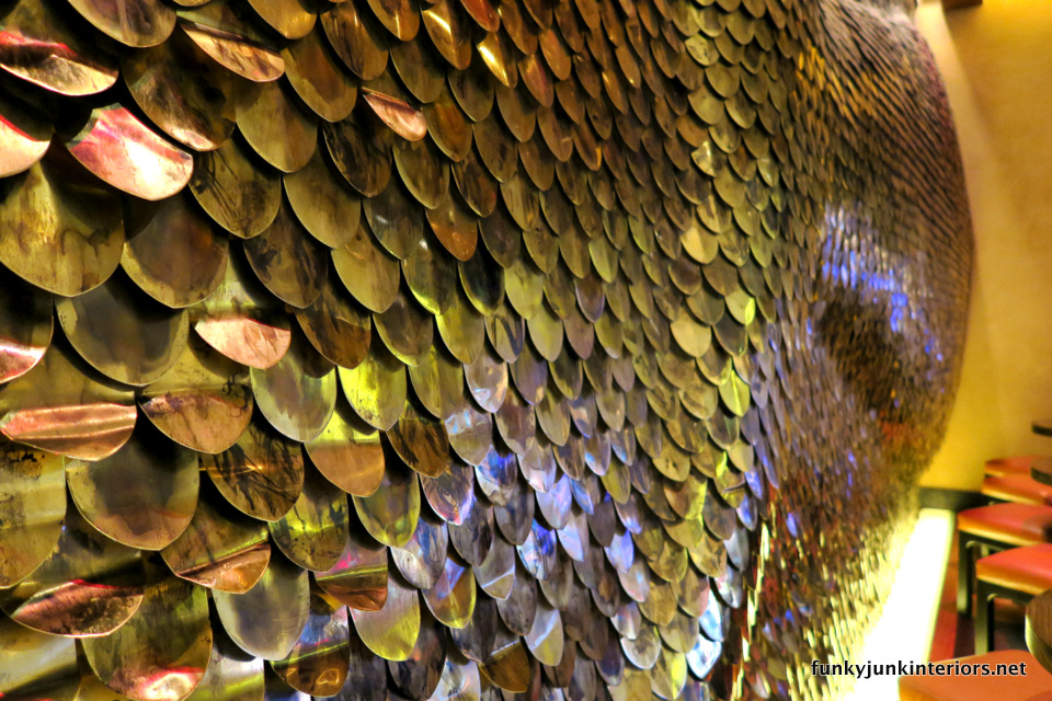 Fish scale metal wall / The opulence of Las Vegas / FunkyJunkInteriors.net