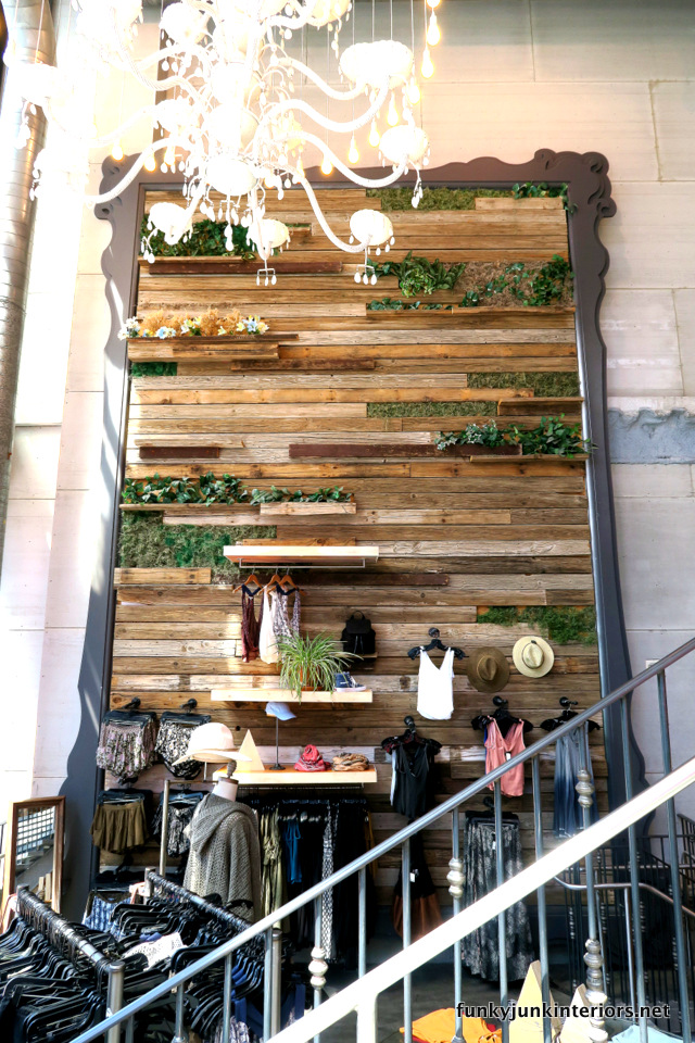 Las Vegas Opulance - reclaimed wood and living plant wall in a store on the strip / funkyjunkinteriors.net