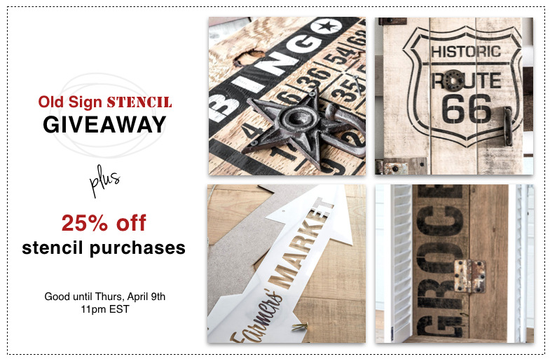 Old Sign Stencil Giveaway Event on FunkyJunkInteriors.net