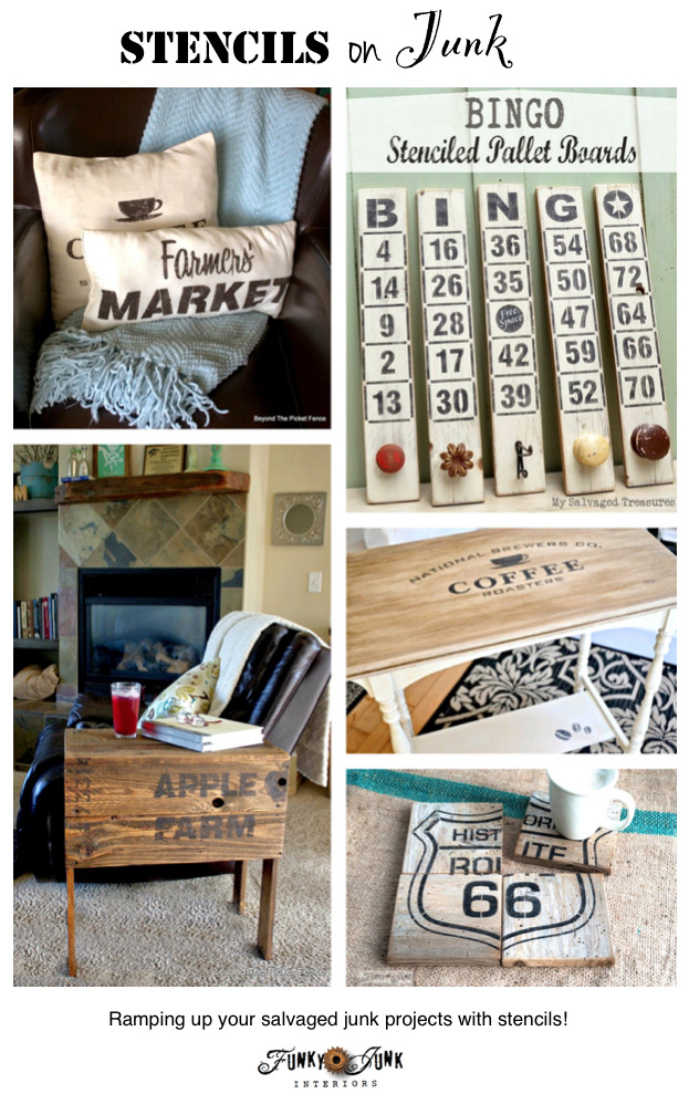 Stencils on Salvaged Junk! Ramping up your salvaged junk with stencils! on FunkyJunkInteriors.net