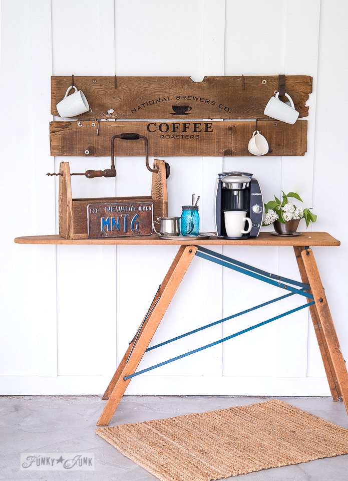 Make this mug hanging reclaimed wood old sign coffee station with Funky Junk's Old Sign Stencils! #funkyjunkinteriors #oldsignstencils #signs #coffee #farmhouse #reclaimedwood