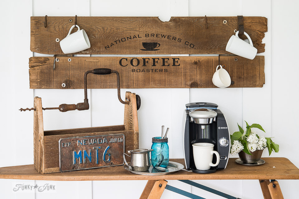 Fence board coffee sign with Old Sign Stencils / FunkyJunkInteriors.net