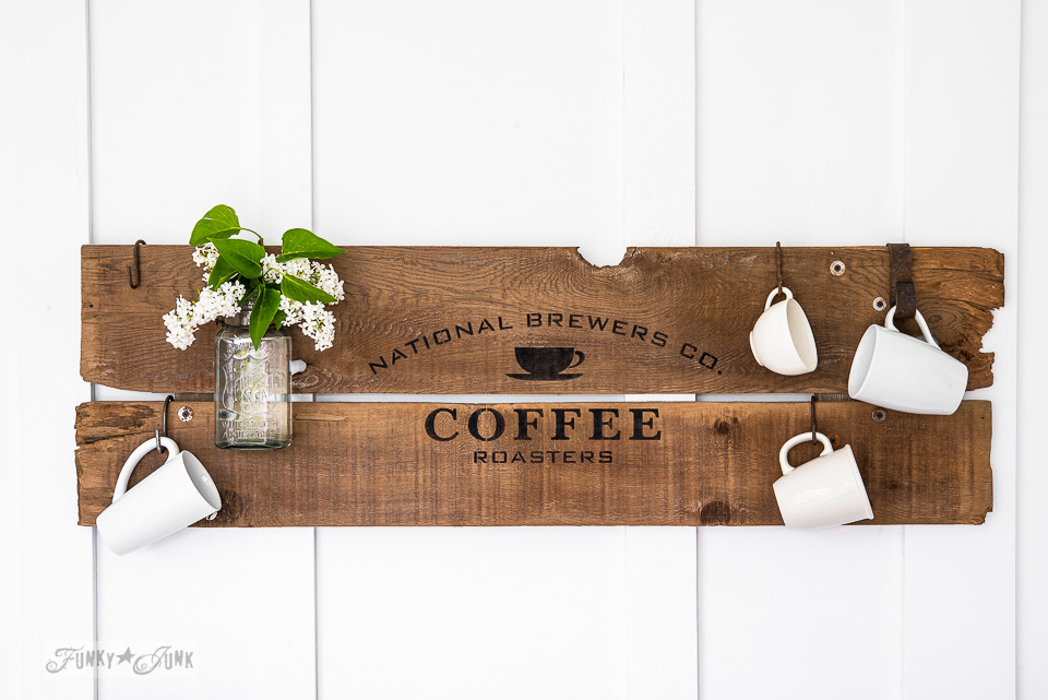 Reclaimed wood two plank sign with Old Sign Stencils' National Coffee design / FunkyJunkInteriors.net